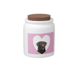 Pote de doces do deleite do cão do coração de labr