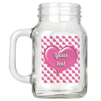 Pote De Vidro Mason Design de vidro do coração do amor - rosa