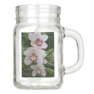 Pote De Vidro Mason Flores tropicais bonitas das orquídeas brancas