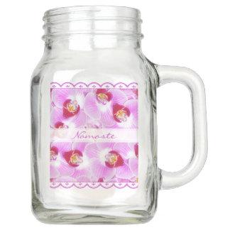 Pote De Vidro Mason Personalize:  Orquídeas tropicais roxas da
