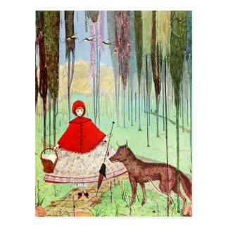 Pouca capa de equitação vermelha cartão postal