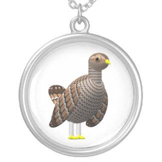 Pouca galinha de pradaria colar banhado a prata