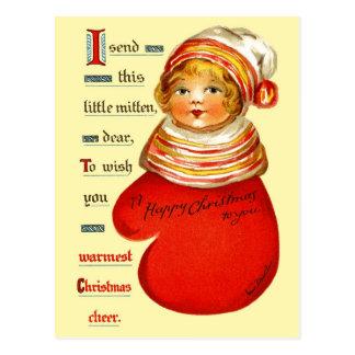 Pouca menina vermelha do mitene cartão postal