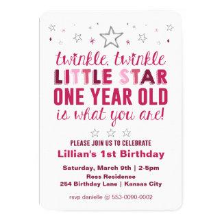 Pouco aniversário das meninas da estrela primeiro convite 12.7 x 17.78cm