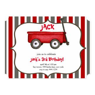 Pouco convite vermelho do aniversário do menino do convite 12.7 x 17.78cm