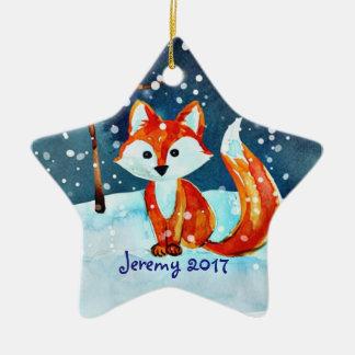 Pouco Fox vermelho na neve Ornamento De Cerâmica Estrela