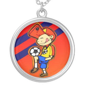 Pouco jogador de futebol colar com pendente redondo