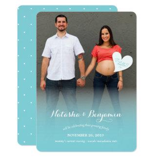 Pouco olá! um anúncio azul da foto da gravidez convite 12.7 x 17.78cm