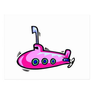 Pouco submarino cor-de-rosa cartão postal