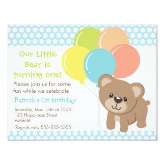 Poucos urso e convite de aniversário dos balões
