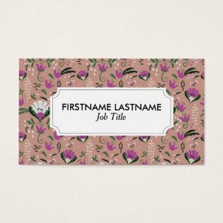 Povos cor-de-rosa da casa de campo florais cartão de visitas