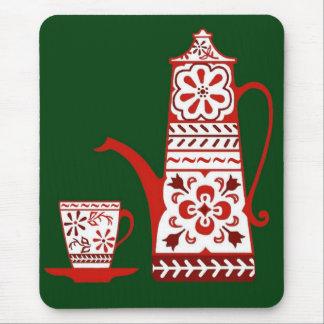 Povos, delft, pote do café/chá e copo vermelhos mouse pad