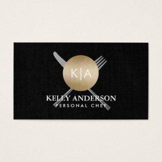 Povos & faca pessoais do monograma do ouro da cartão de visitas