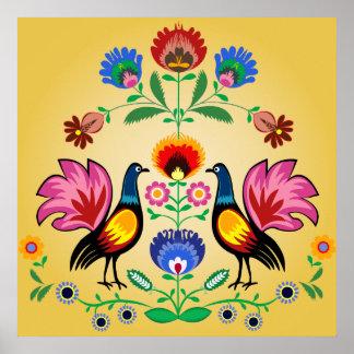 Povos poloneses com floral decorativo & os galos n poster