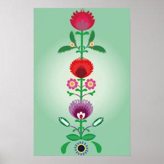 Povos poloneses, tira floral decorativa pôster