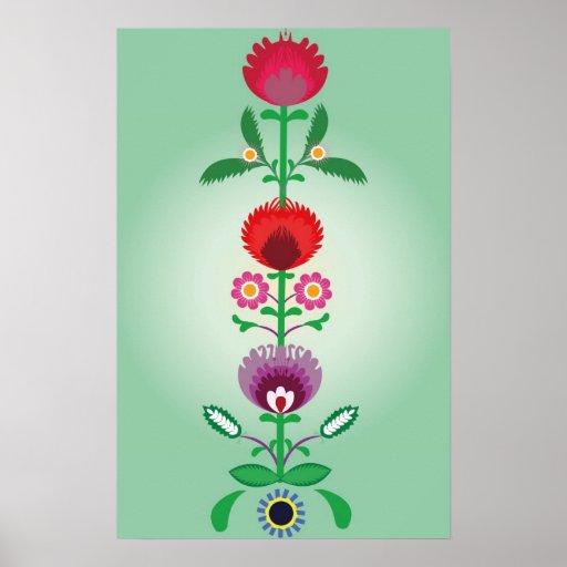 Povos poloneses, tira floral decorativa poster
