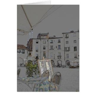 Praça Anfiteatro em Lucca, Italia Cartão De Nota