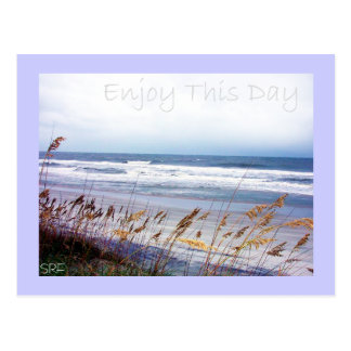 Praia - aprecie este dia - cartão cartão postal