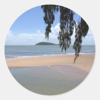 Praia Adesivo Em Formato Redondo