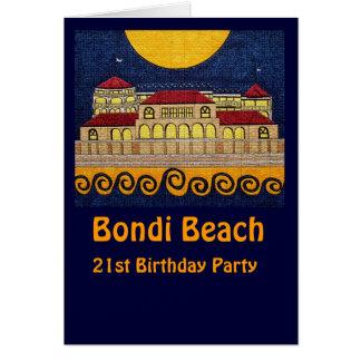 Praia de Bondi, cartão do partido de aniversário