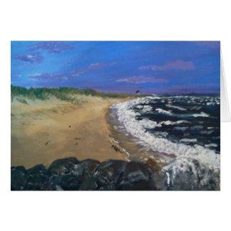 Praia de Cape Cod no cartão do crepúsculo