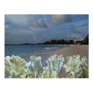 Praia do casamento de RSVP com coral azul Cartao Postal