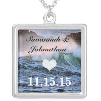Praia do casamento do destino seu aniversário da colar banhado a prata