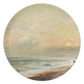 Praia levantada, c.1824 (óleo no papel no painel) prato de festa