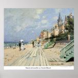 Praia no trouville por Claude Monet Pôsteres