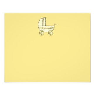 Pram. amarelo do bebê flyer 11.43 x 14.22cm