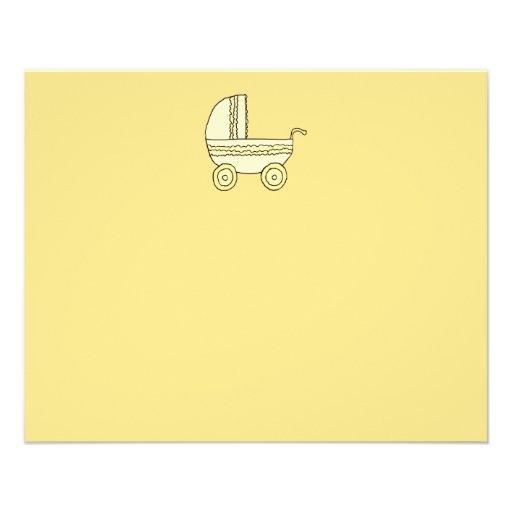Pram. amarelo do bebê panfletos personalizados