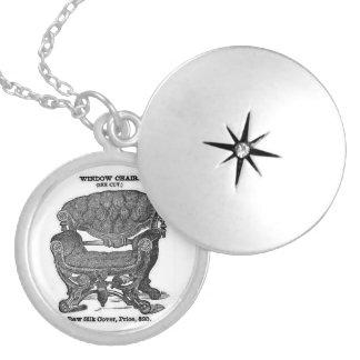 Prata branca e preta chapeada em volta do Locket Colar Medalhão