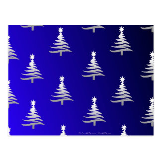 Prata das árvores de Natal em azuis cobaltos Cartão Postal