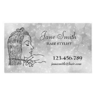 Prata do na moda do cabeleireiro do cabeleireiro cartão de visita