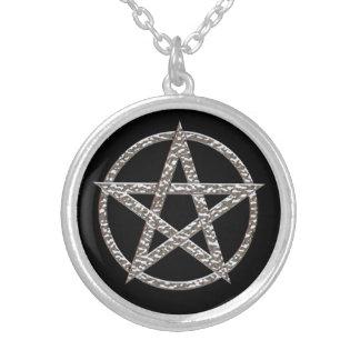 Prata do Pentagram chapeada em volta da colar