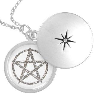Prata do Pentagram chapeada em volta do Locket Colar Medalhão
