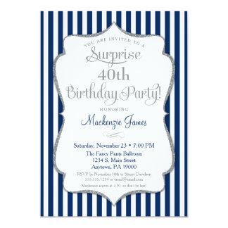 Prata dos azuis marinhos do convite de festas da