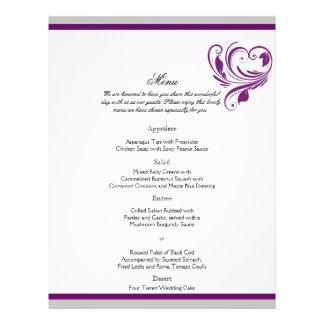 Prata e menu floral roxo do casamento do coração