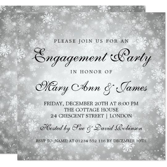 Prata elegante da festa de noivado do país das convite quadrado 13.35 x 13.35cm