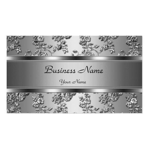 Prata elegante elegante olhar floral gravado cartão de visita