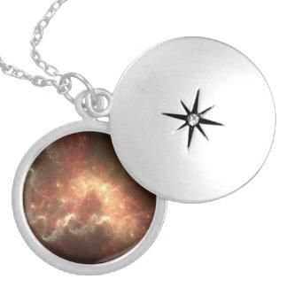 Prata média da galáxia chapeada em volta do Locket Colar Medalhão
