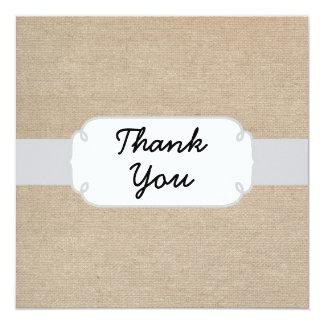 Prata rústica e cartões de agradecimentos bege de convite quadrado 13.35 x 13.35cm