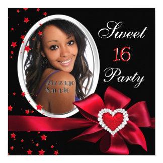 Prata vermelha da foto do coração da festa de convite quadrado 13.35 x 13.35cm