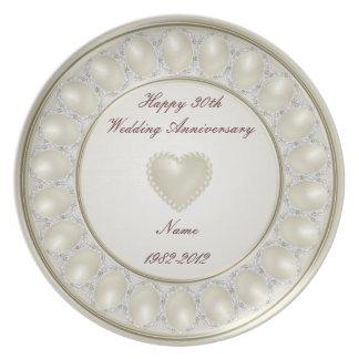 Prato 30o Placa da melamina do aniversário de casamento
