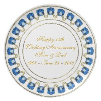 Prato 45th Placa da melamina do aniversário de casamento