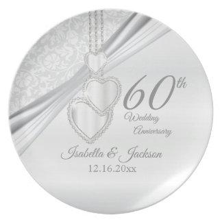 Prato 60th Lembrança do aniversário de casamento do