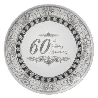 Prato 60th Placa da melamina do aniversário de casamento