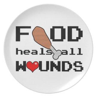 Prato A comida cura toda a placa das feridas