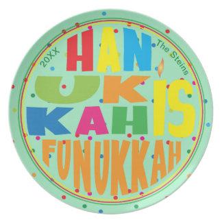 """Prato A placa 10"""" de Hanukkah """"Hanukkah redondo é"""