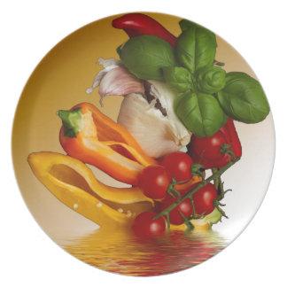 Prato Alho dos tomates da manjericão das pimentas